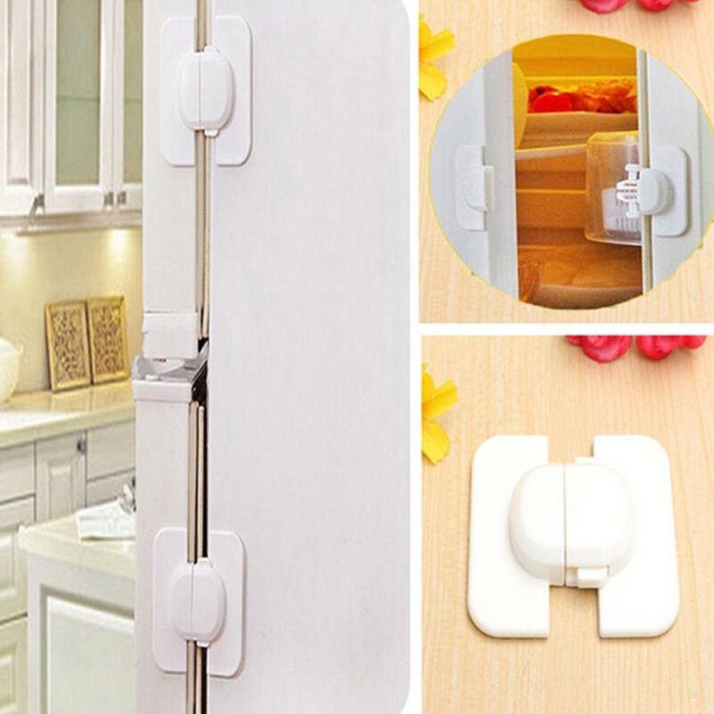New Baby Kids Care Safety Security Cabinet Lock Fridge Door Cabinet Locks White 3