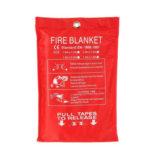 FIRE BLANKET 1M x 1M QUALITY QUICK RELEASE LARGE FULLY APPROVED RED CASE 3