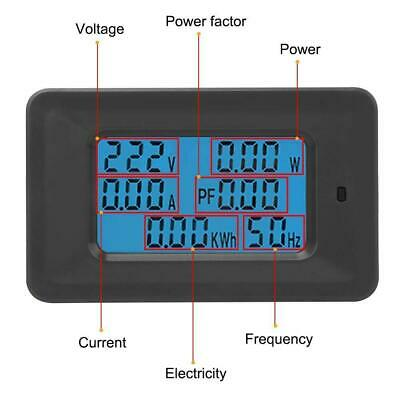 6 in 1 Digital AC Meter Voltage 110V-250V Current 20A Power Factor KWH Frequency 4