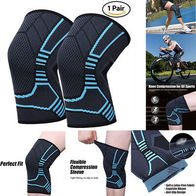 2x Knee Sleeve Compression Brace Support For Sport Joint Arthritis Pain Relief