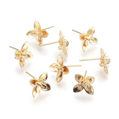 20pcs Gold Plated Brass 3D Flower Earring Posts Dangle Loop Stud Finidngs 10.5mm 2