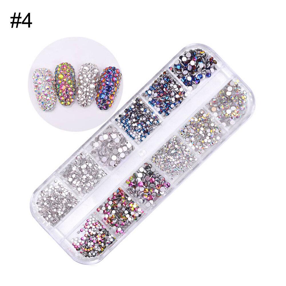 1440pcs Flat Back Nail Art Rhinestones Glitters Diamonds 3D Tips Manicure Decor 9