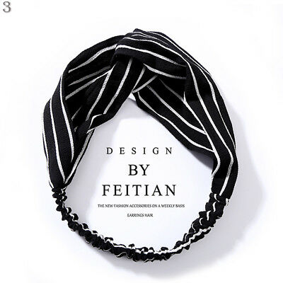 Women Girl Turban Stripe Elastic Head Wrap Headband Twisted Knotted Spa Hairband 11