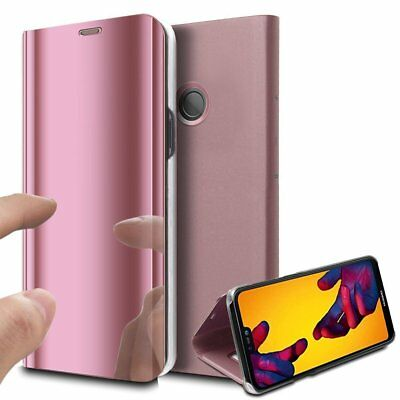 Luxury Mirror View Clear Stylish Flip PU Case Cover For Huawei P20 Lite P20 Pro 5