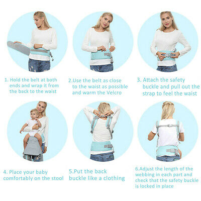 Ergonomic Infant Baby Carrier With Hip Seat Stool Adjustable Wrap Sling Backpack 10