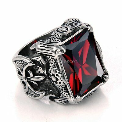 2 of 6 Vintage Black Stainless Steel Mens Fleur de Lis Dragon Claw Ring Square Red