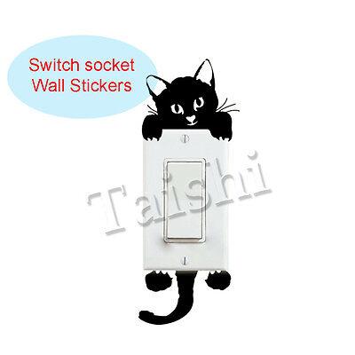 Aufkleber Lichtschalter Katze Sticker Wandtattoo Steckdose Fun Tier 995