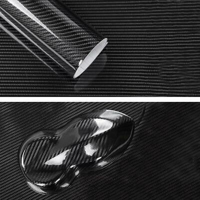 7D Premium HIGH GLOSS Black Carbon Fiber Vinyl Wrap Bubble Free Air Release Car 3