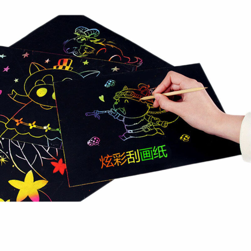 Home 1 A4 Sheets Kids Painting Teaching Tools Set Scratch Paper Magic Scratch Art Painting Paper With Drawing Stick Baby Playing Toys