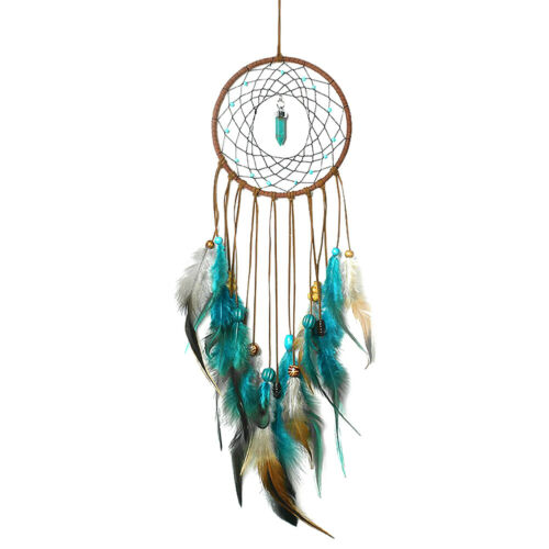 Large Blue Feather Dream Catcher Car Wall Hanging Home Ornament Craft Decoration 2