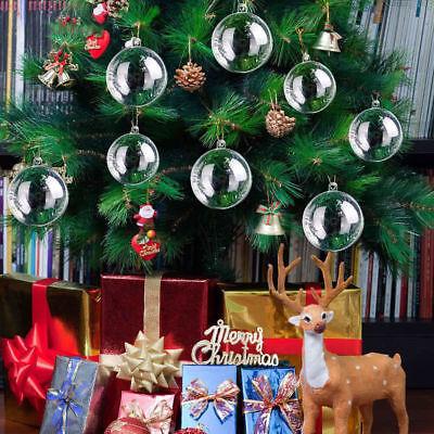 200Pcs Clear Plastic Christmas Balls Baubles Sphere Fillable Xmas Tree Ornament 2