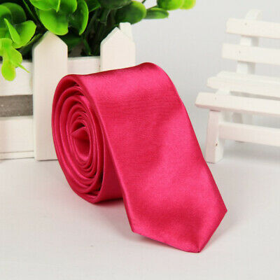 Mens SKINNY TIE Plain Wedding Slim Necktie Formal Casual Narrow Party Solid NEW 4