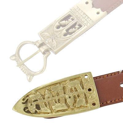 Brass Viking Serpent of the Seas Medieval Belt Buckle Chape 4