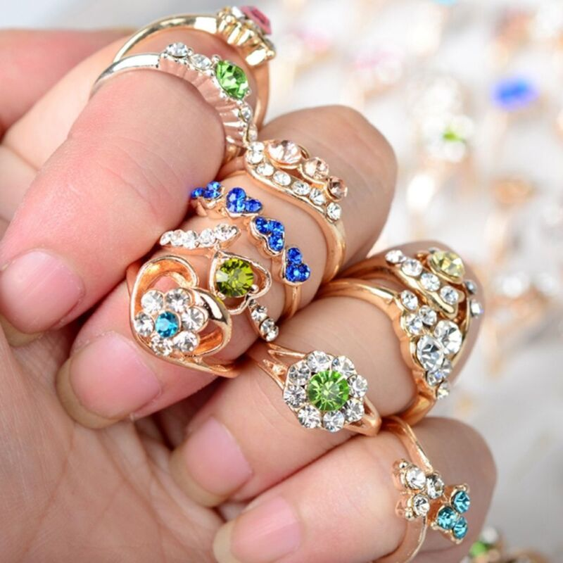 100/20Pcs Vintage Tibet Flower Silver Rings Wholesale Mixed Lots Costume Jewelry 8