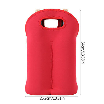 Red Two Bottle Insulated WINE TOTE Bag NEOPRENE Carrier Cooler Waterproof Bag IS 3