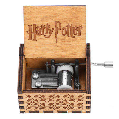 FR Harry Potter Star War Hand-cranked Gravé en Bois Boîte à Musique Music Box 4