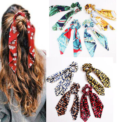 Boho Print Ponytail Scarf Bow Elastic Hair Rope Tie Scrunchies Ribbon Hair Bands 2