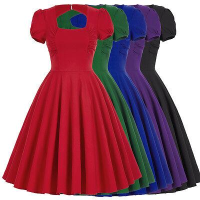 Retro 1950s 1960s Vintage Solido Manica A Sbuffo Vestitino Stile Anni '50 3