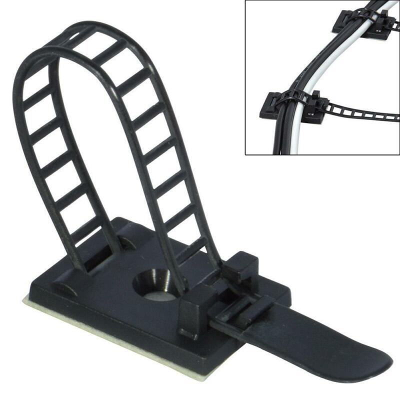 25Pcs Adjustable Black Adhesive Cable Straps Cord Wires Tie Clamps Mount Clip 2