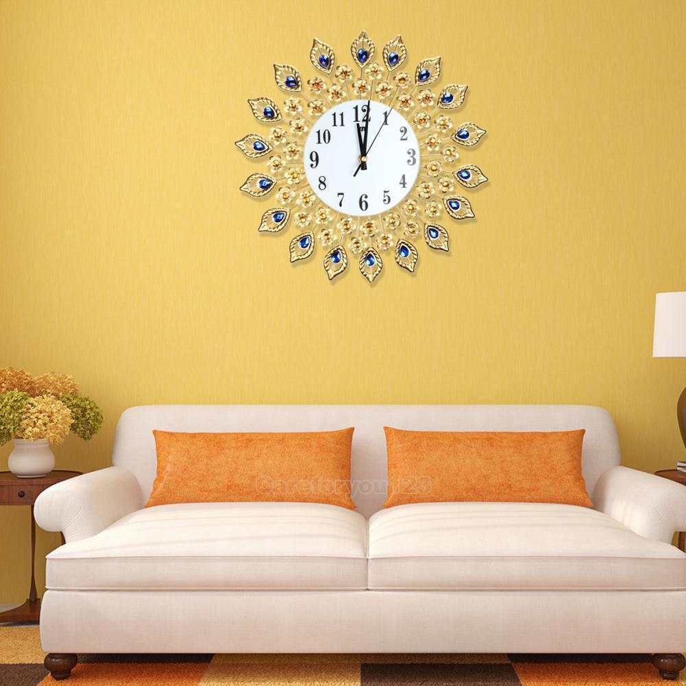 37cm Diamond Peacock Metal Art Wall Clock Living Room Wall Watch