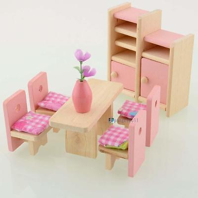 Dolls House Furniture Wooden Set People Dolls Toys For Kids Children Gift New TR