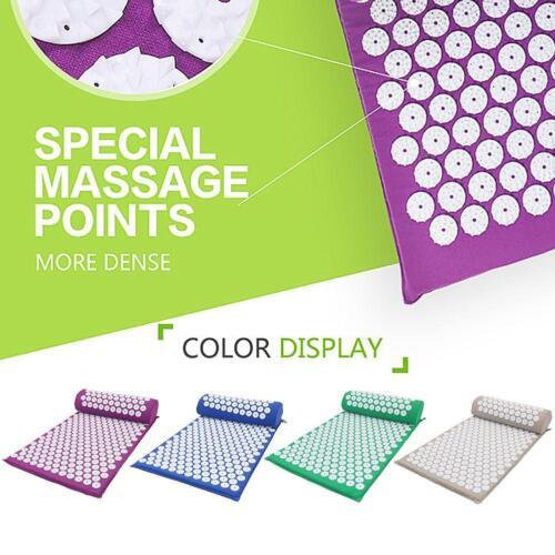 Massage Acupressure Mat with Pillow+Bag Yoga Kits Sit Lying Mats Cut Pain Stress 3