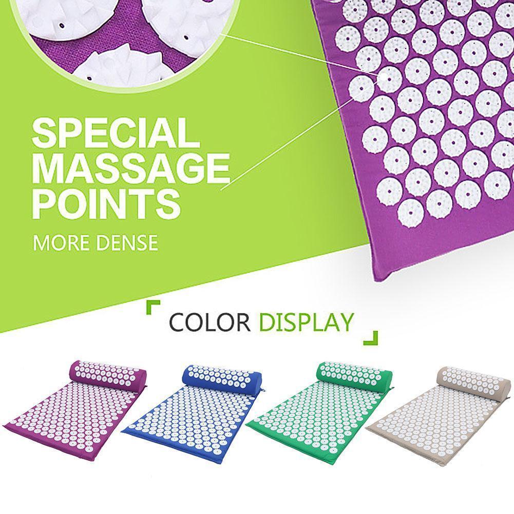Massage Acupressure Mat Yoga Shakti Sit Lying Mats Cut Pain Stress with Pillow 3