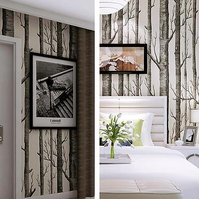 Forest Birch Tree Rustic Modern Minimalist Black White Woods Wallpaper Rolls