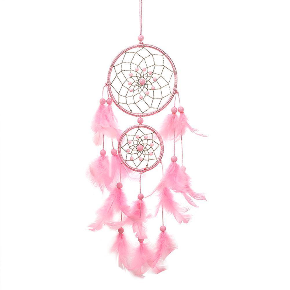 Pink Dream Catcher Girls Dreamlike Feather Dreamcatcher Wall Hanging Home Decor 2
