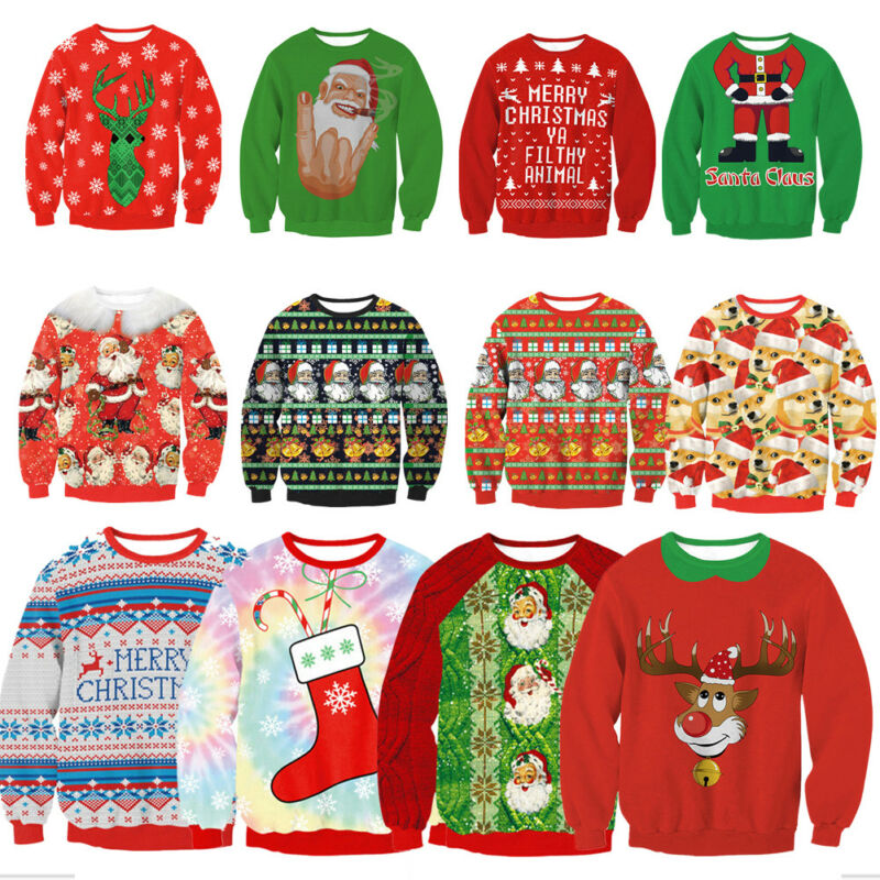 XMAS Women Sweatshirt Sweater Jumper Girls Christmas Hoodie Pullover Tops Blouse 2