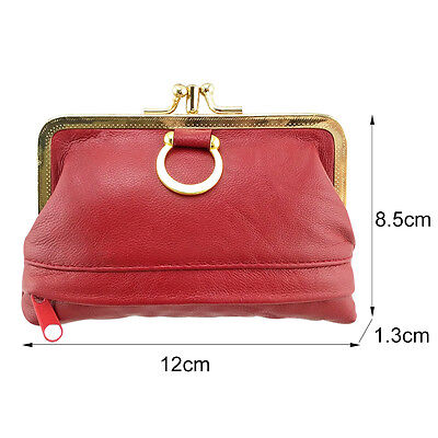 Women Genuine Leather Coin Purse Hasp Small Wallet Card Holder Bag 12*8.5*1.3cm 2