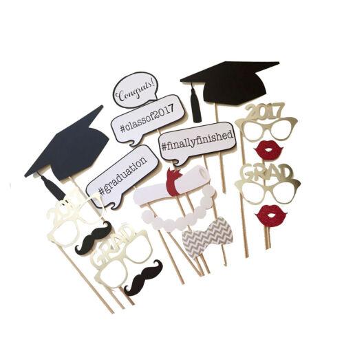 17 pcs 2017 graduation party mask photo booth prop mustache on