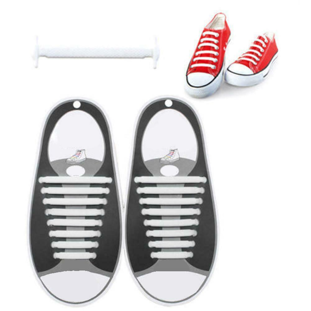 Easy No Tie Rubber Shoe Laces Colored Shoelaces Trainers Snickers Kids Adults UK 4