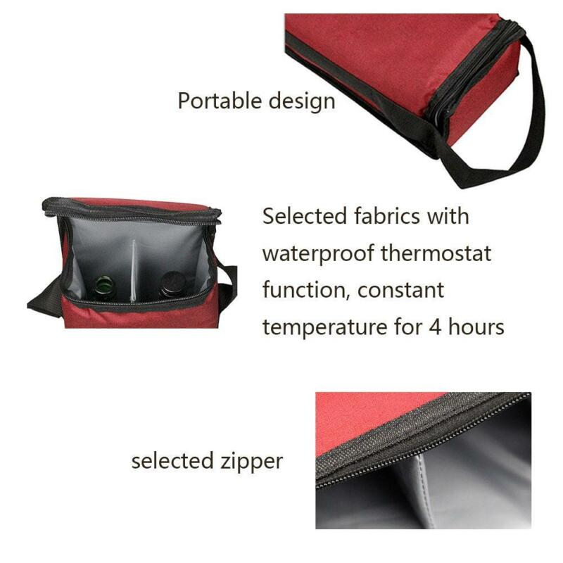 Portable Red Wine Tote Bag 2-Bottle Carrier Insulated Holder Cooler Ice Pack 8