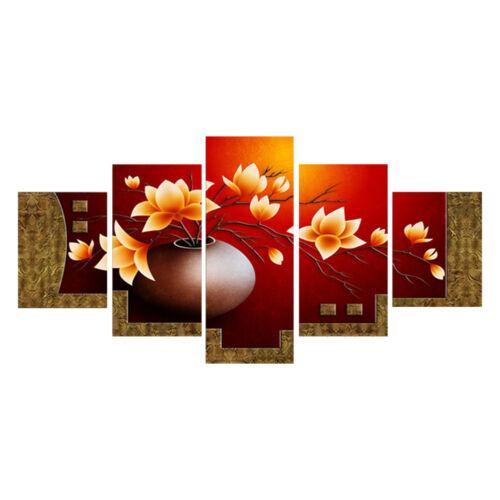 5PCS Flower Vase Canvas Wall Art Oil Painting Picture Print Home Decoration AU 5