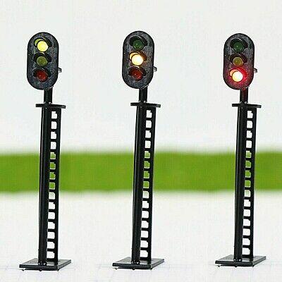 N.1 SEMAFORO BINARI SIGNAL TRAIN mm.34 12Vcc a 2 COLORI LED VERDE ROSSO SCALA-N