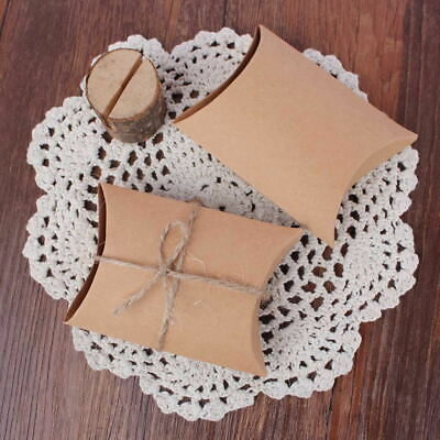 100x Wedding Candy Box Gift Boxes Paper Kraft Pillow Shape Bag Event Party Favor 3
