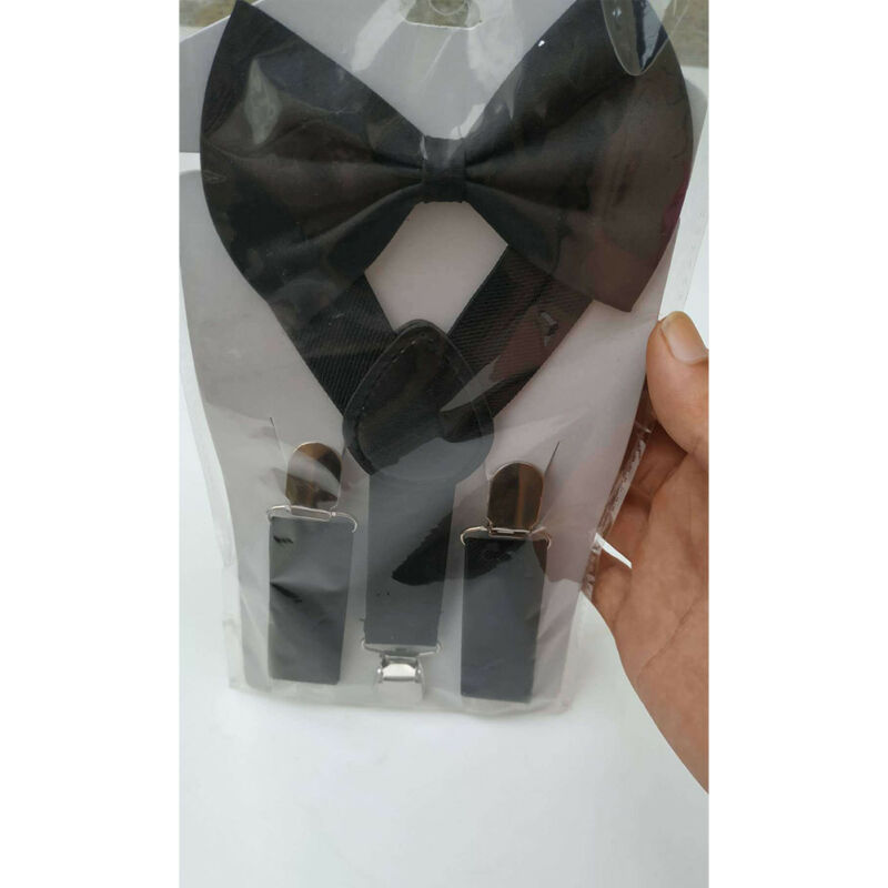 Unisex Suspenders and Bow Tie Set Adjustable Braces Elastic Y-back for Baby Kid