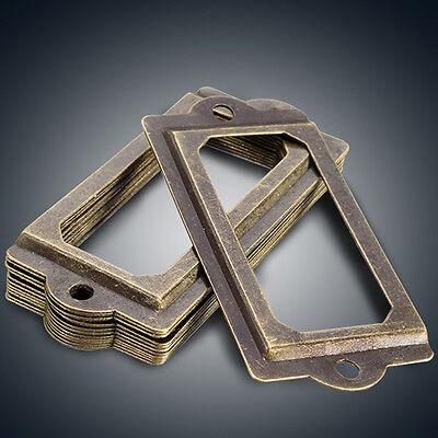 12Pcs Antique Brass Drawer Label Pull Cabinet Frame Handle Name Card Holder #4 3
