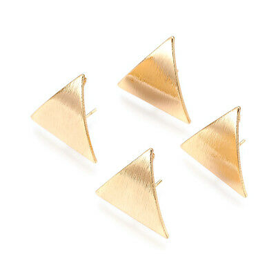 20pc Bumpy Brass Triangle Earring Posts Back Loop Gold Plated Stud Findings 22mm 2