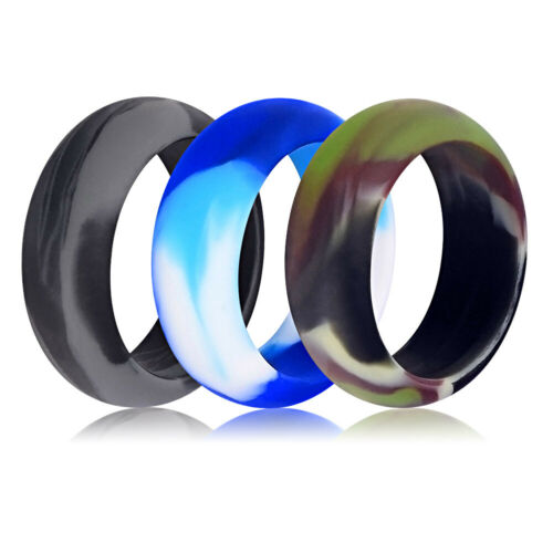 Medical Grade Silicone Wedding Ring Men Women Flexible Rubber Engagement Band 9