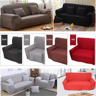 1/2/3/4Seater Stretch Fit Elastic Fabric Sofa Cover Couch Covers Spandex Protect 3