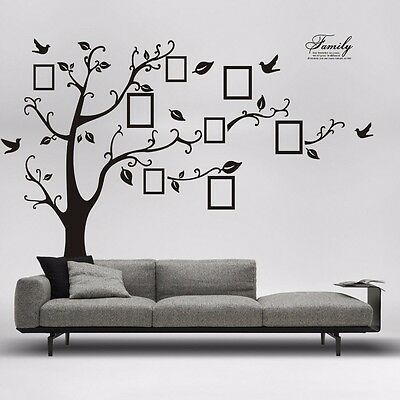 Family Tree Wall Decal Sticker Large Vinyl Photo Picture Frame Removable Black 3