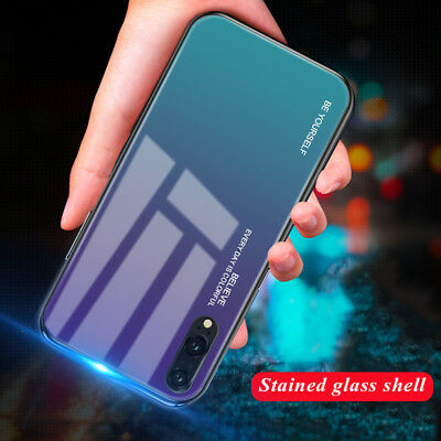 Gradient Case For Huawei Mate 20 Lite P20 Pro Tempered GLASS BACK Hybrid Cover 2