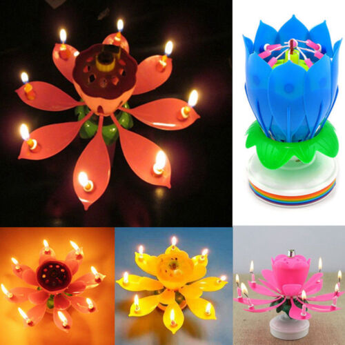 Musical Lotus Flower Rotating Happy Birthday Party Gift Candle Light Cake Decor 7 Of 11