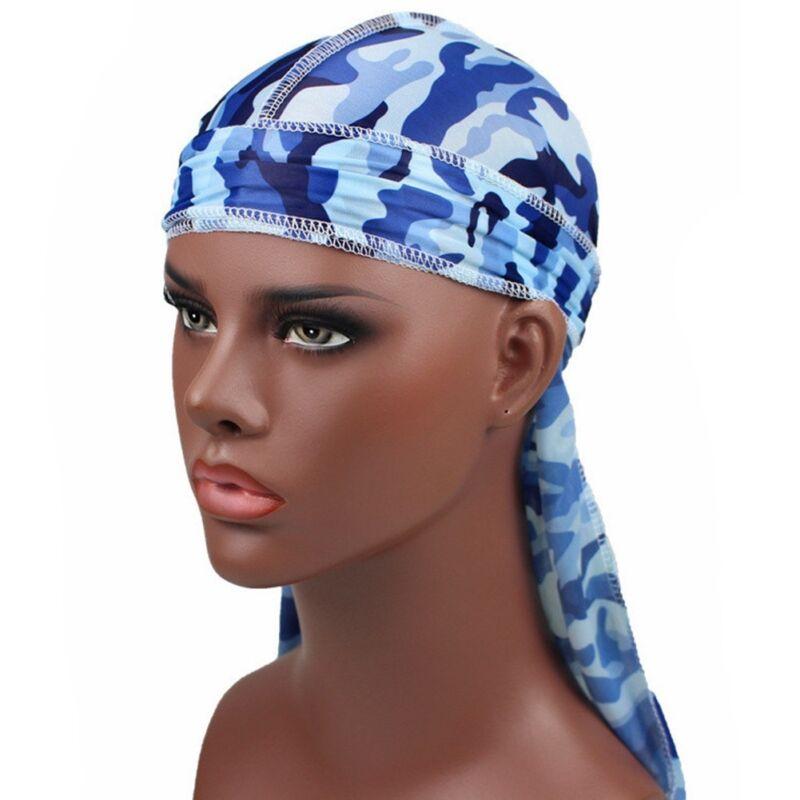 Mens Womens Camouflage Headwear Pirate Cap Hat Long Tail Bandana Turban Durag 6