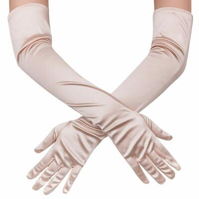 "Women Elbow Length Long Satin Gloves Finger Bridal Dance Evening Opera Party 21"" 3"
