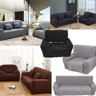 1/2/3/4Seater Stretch Fit Elastic Fabric Sofa Cover Couch Covers Spandex Protect 4