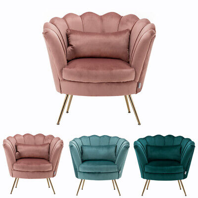 Blush Pink Velvet Lotus Seat Shell Tub Chair Armchair 2 Seater Sofa Couch Settee 10