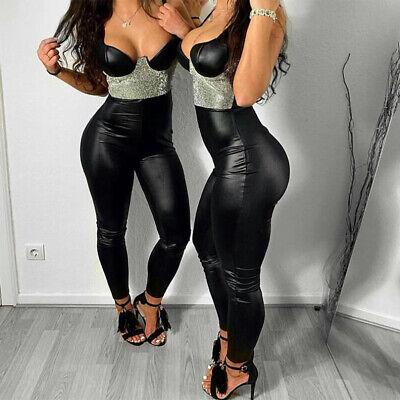 Damen Wetlook Leggings Leggins Fleece Thermo Hohe Taille Pants Lang Hosen Sexy 4
